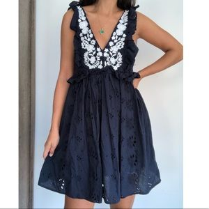 Zara navy blue embroidery ruffled dress M